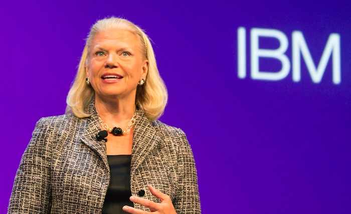 An image of IBM's CEO talking at a conference.