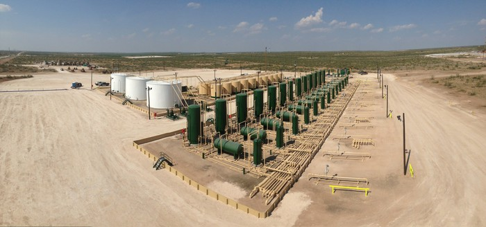 A production facility in the Permian Basin.