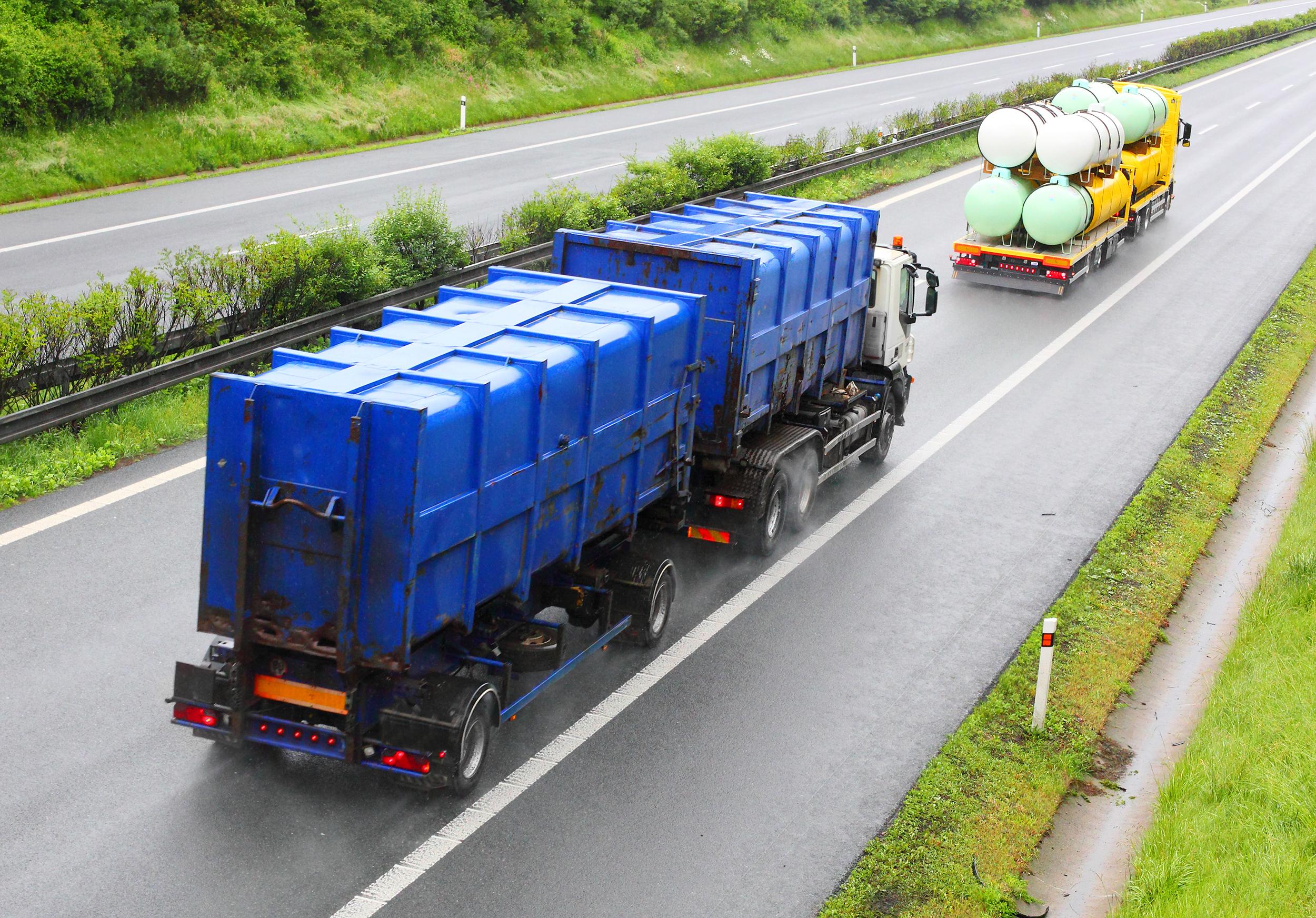 Toxic waste disposal trucks