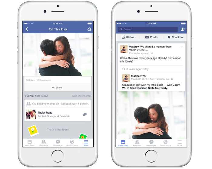 Examples of Facebook's On This Day feature