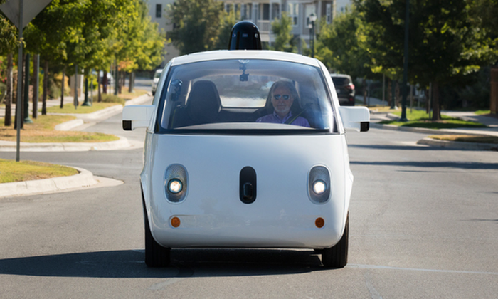 Google's prototype driver-less car on the road.