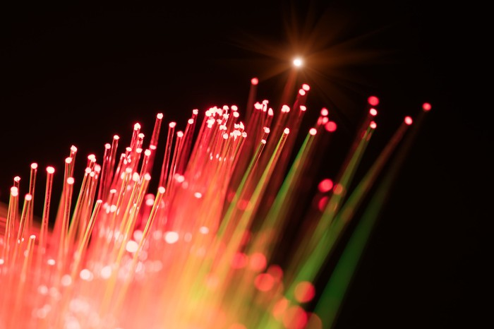Fiber-optic cables glowing red
