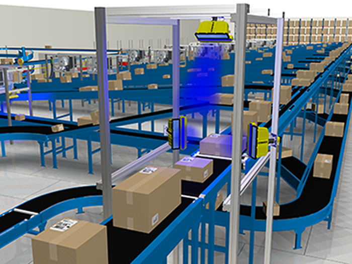 Cognex scanning equipment being used in a package-shipping logistics operation