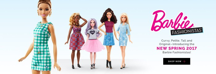 Barbie Fashionistas dolls in curvy, petite, and tall and ethnically diverse styles.