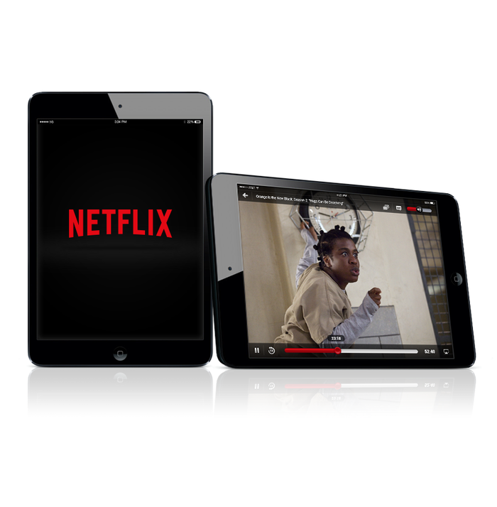 Netflix apps on 2 tablet screens.