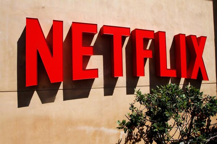 Netflix logo on HQ wall.