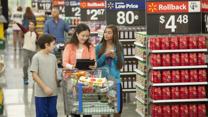 A family shopping in Wal-Mart.
