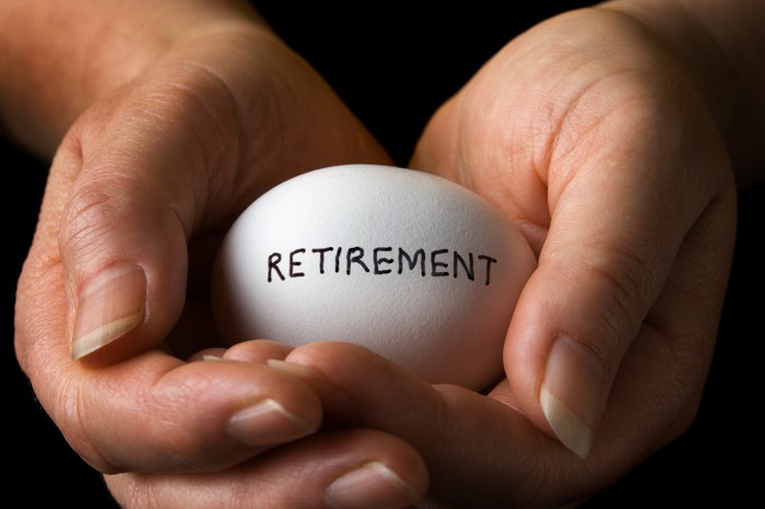 "Two hands cradling an egg with the word ""retirement"" written on it, representing a nest egg."