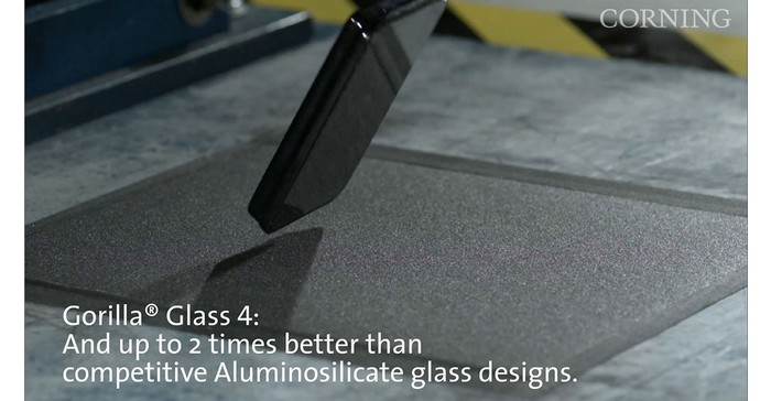 Cellphone built with Corning's Gorilla Glass being dropped to test durability. Gorilla Glass 4 beats the competition.