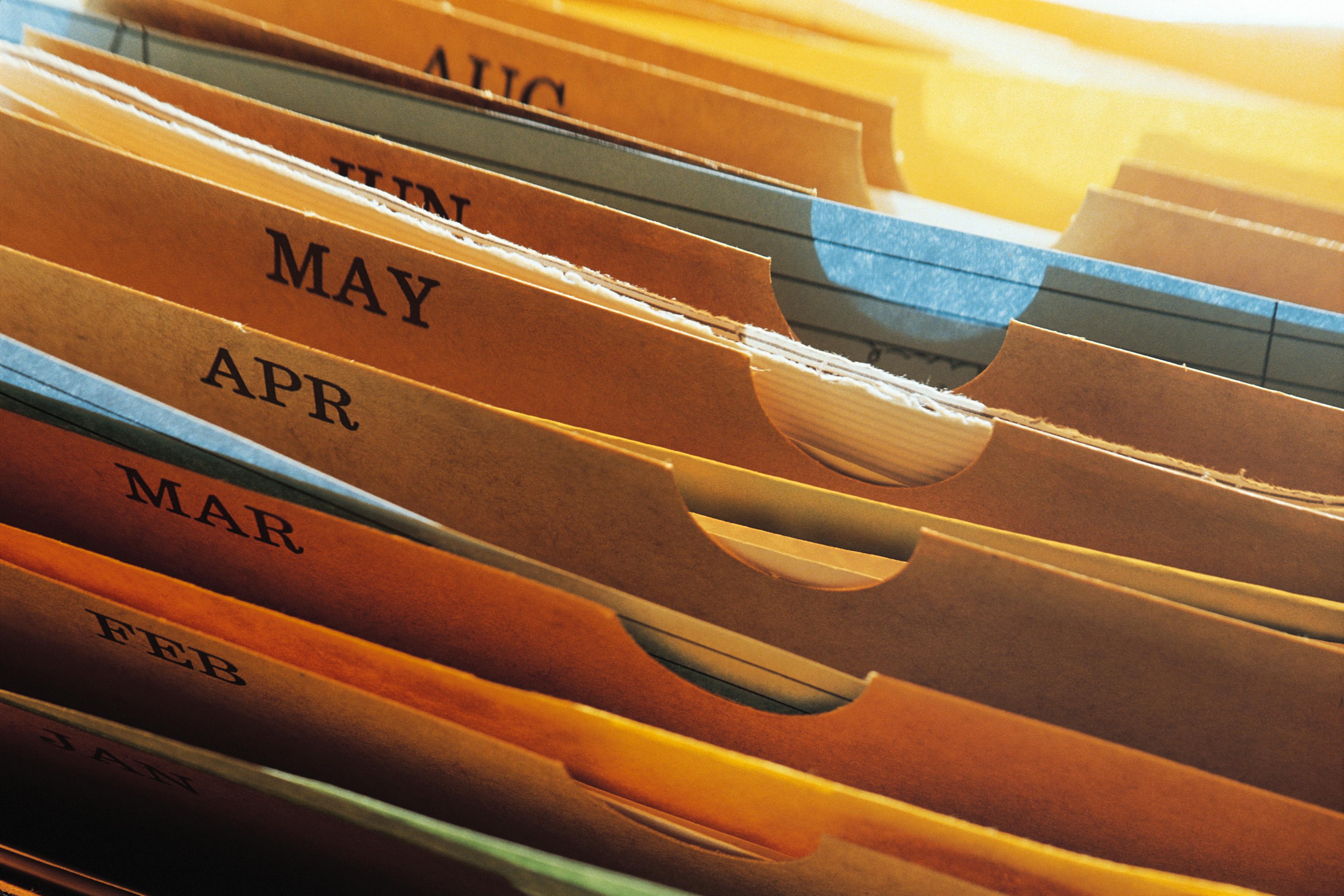 Folders in a filing cabinet