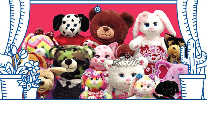 A collection of stuffed toys available at Build-A-Bear Workshop.