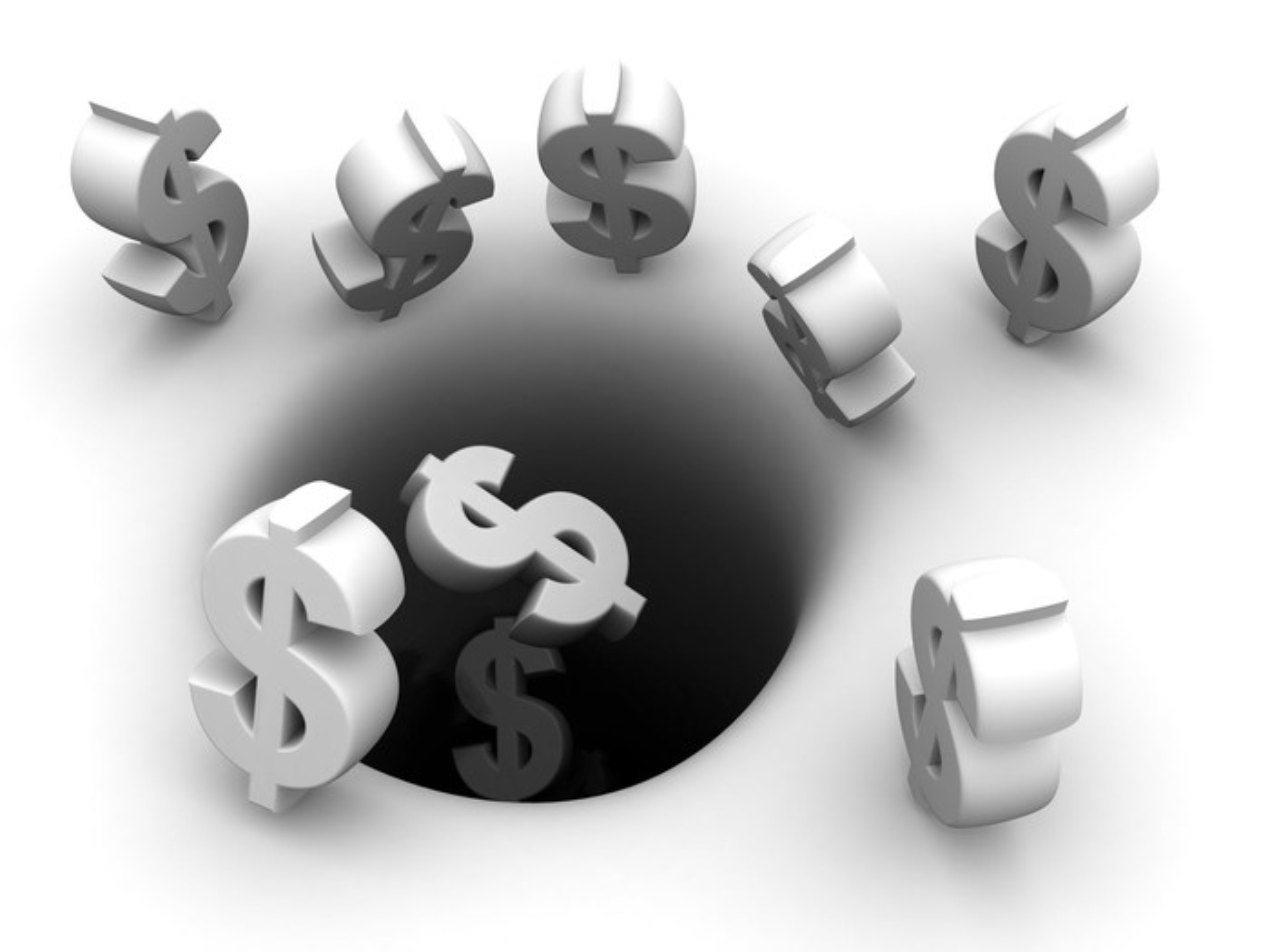 dollar signs falling down black hole