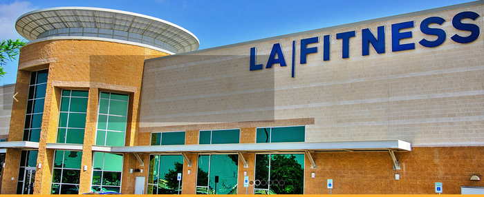 Exterior view of an LA Fitness building.