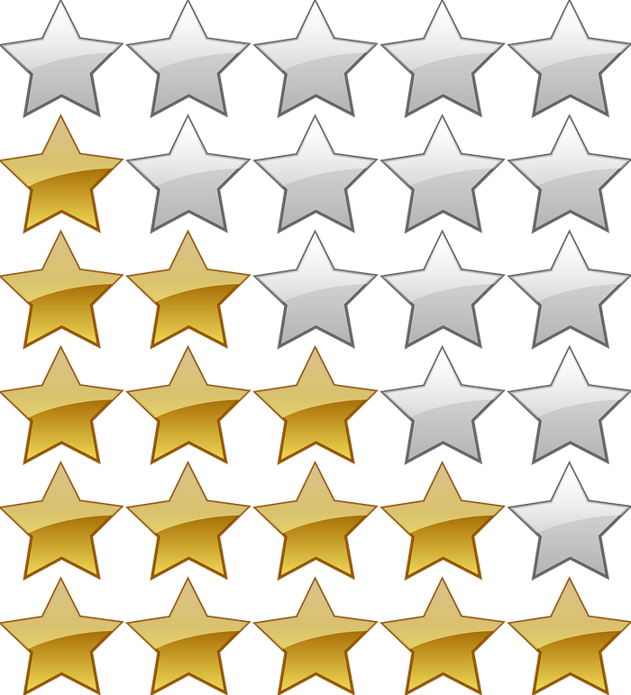 rows of stars, some in gold, showing a 5-star rating system.