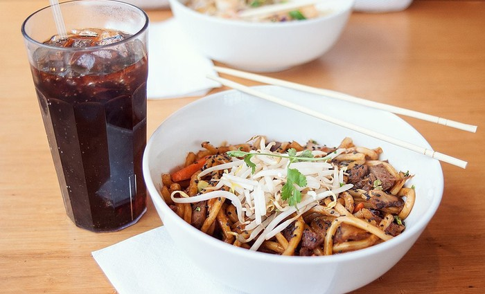 A bowl of noodles from Noodles and Company's world kitchen.