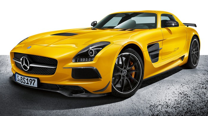 Yellow Mercedes-Benz SLS AMG supercar