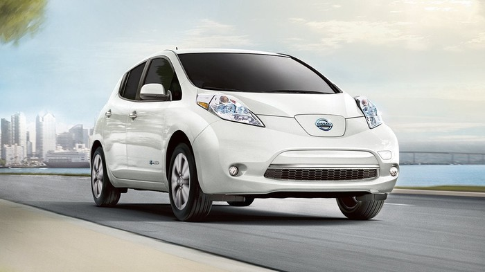 A white 2017 Nissan Leaf all-electric vehicle