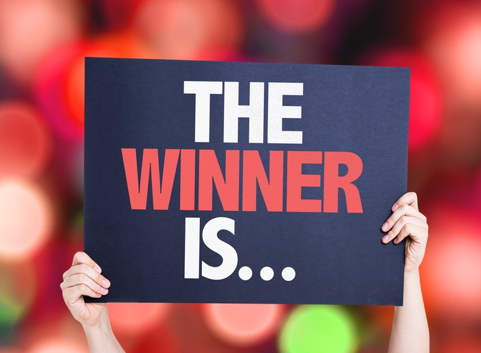"""Sign that says """"The Winner is..."""""""