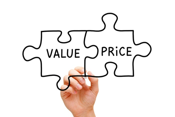 Puzzle pieces linking value and price