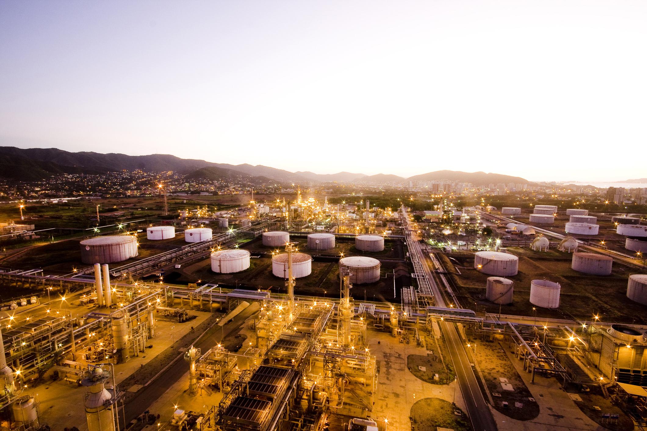 Oil refinery storage tanks