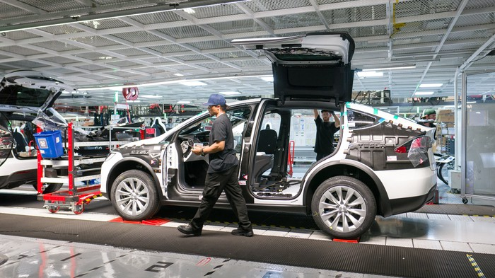 Model X on Tesla's general assembly line in its factory in Fremont, California.