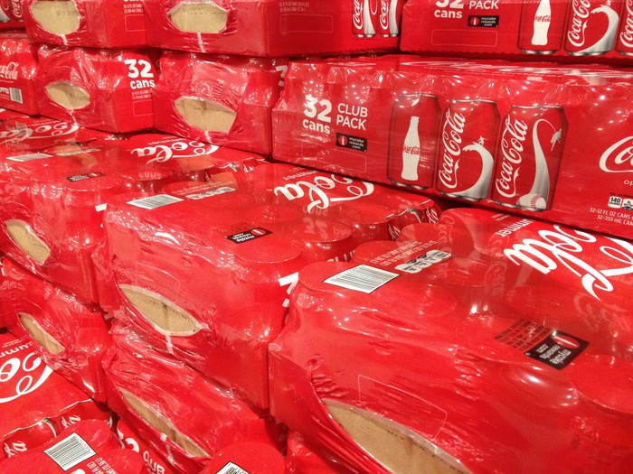Stacks of cases of Coca-Cola cans