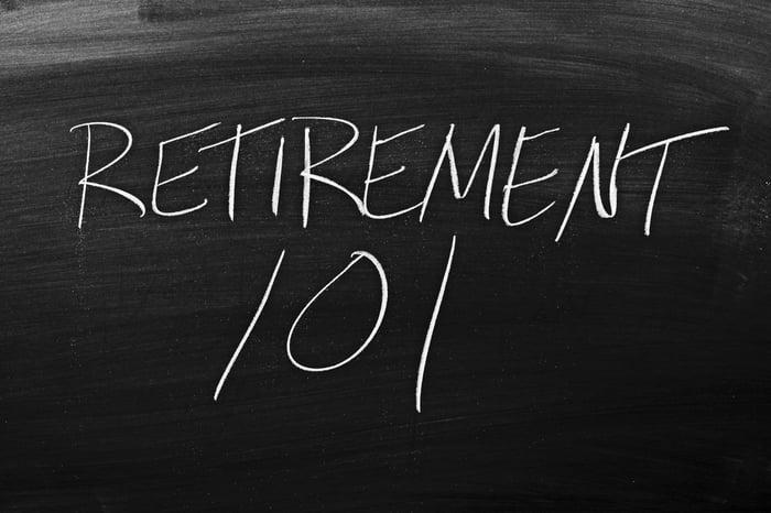 """""""Retirement 101"""" written on a blackboard."""