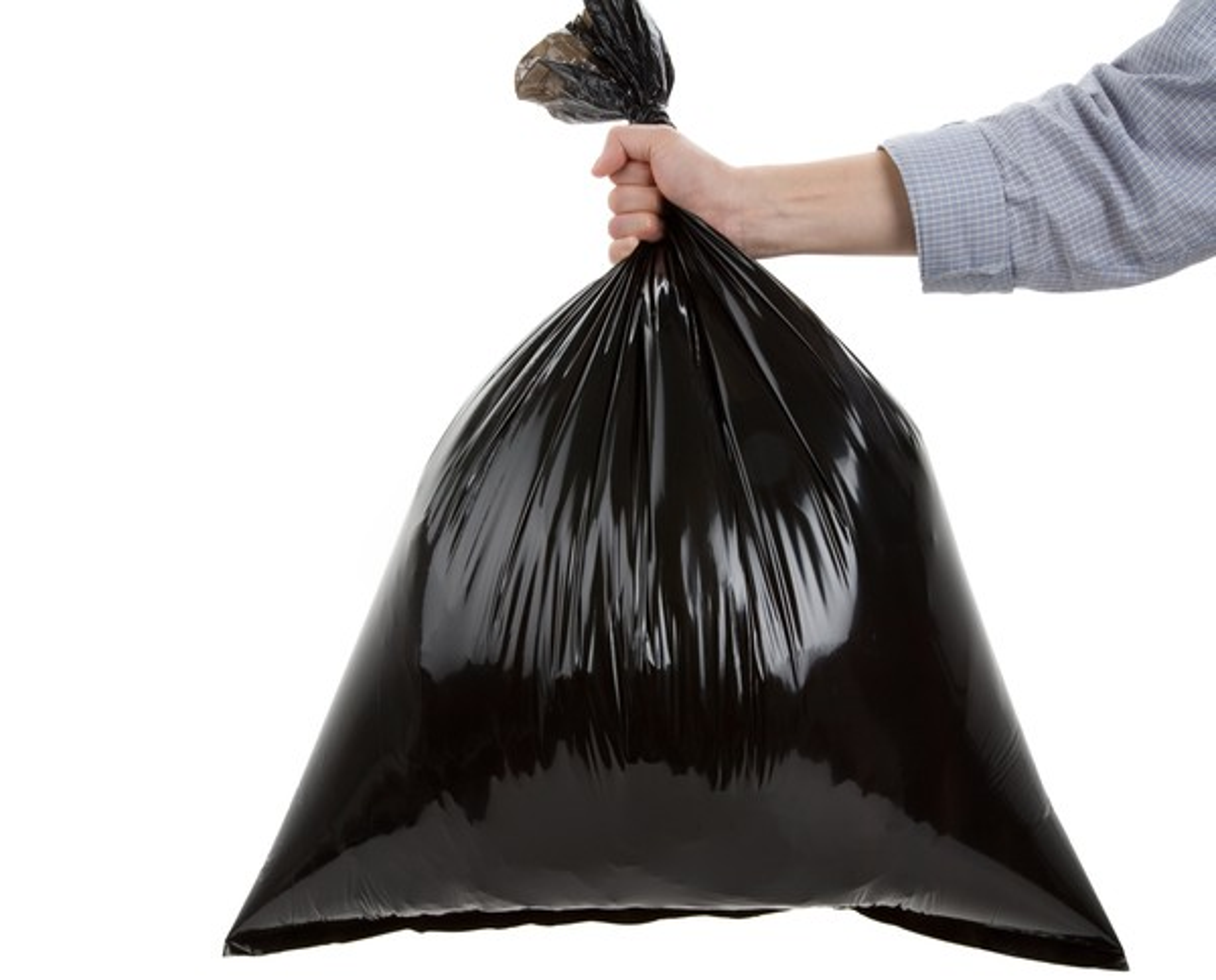 Getty Hand Holding Black Trash Bag