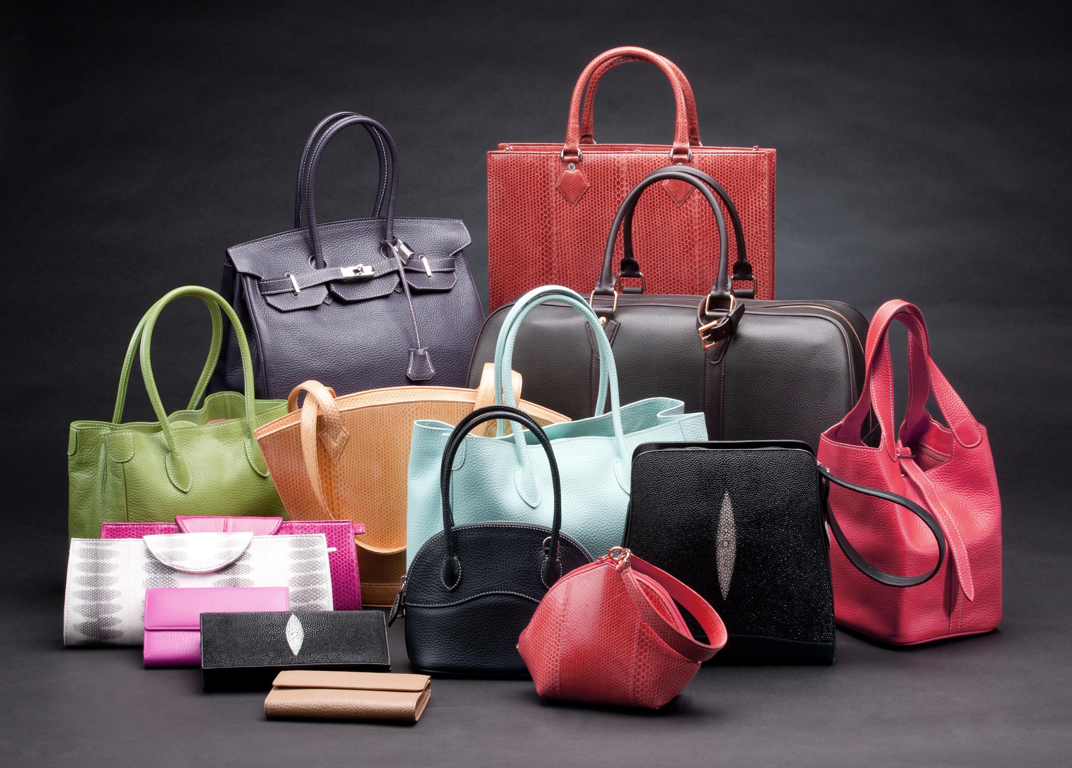 Leather handbags on display.