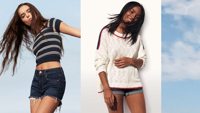 An AEO ad depicting two young women.