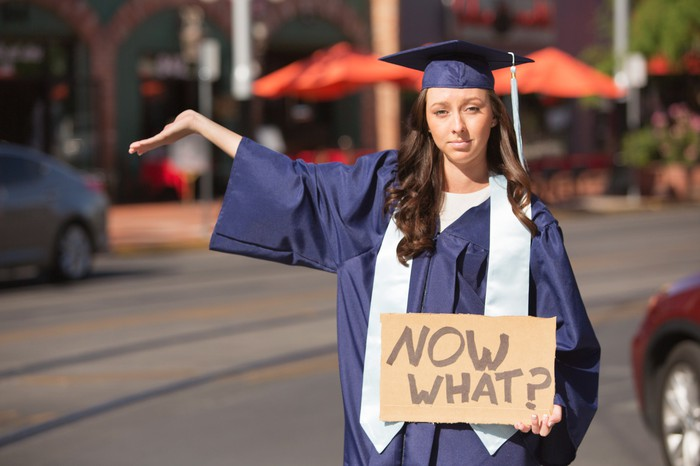 "Recently graduated woman in cap and gown holding a ""Now What?"" sign"