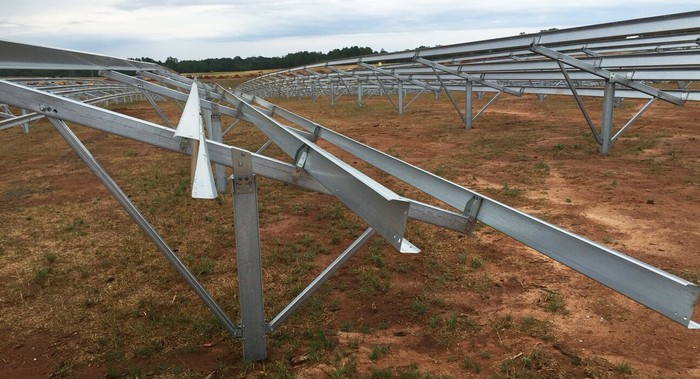 Frames into which solar panels will be inserted.