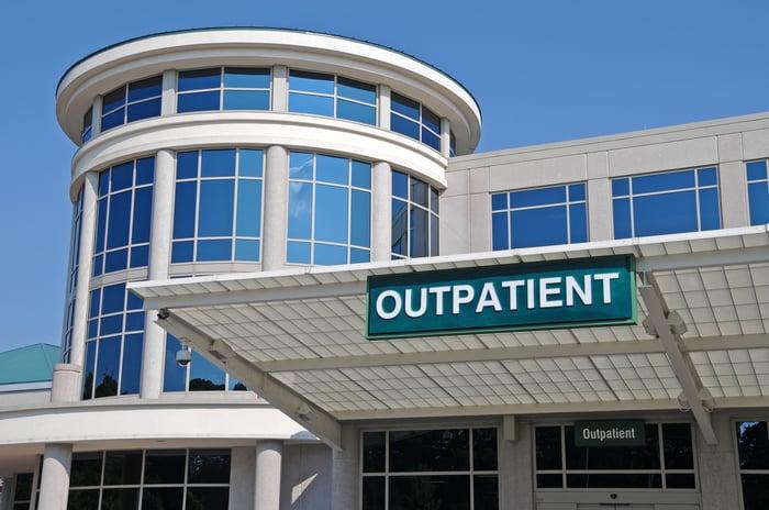 Outpatient sign over a Hospital Outpatient Services entrance.