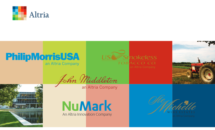 List of Altria businesses with logos.