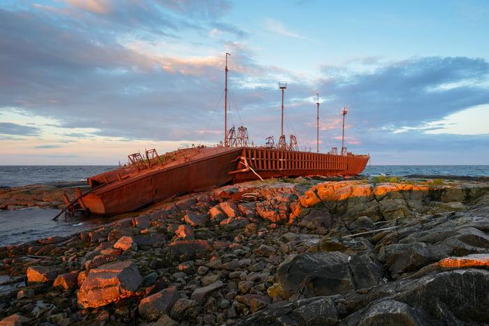 Beached cargo ship.