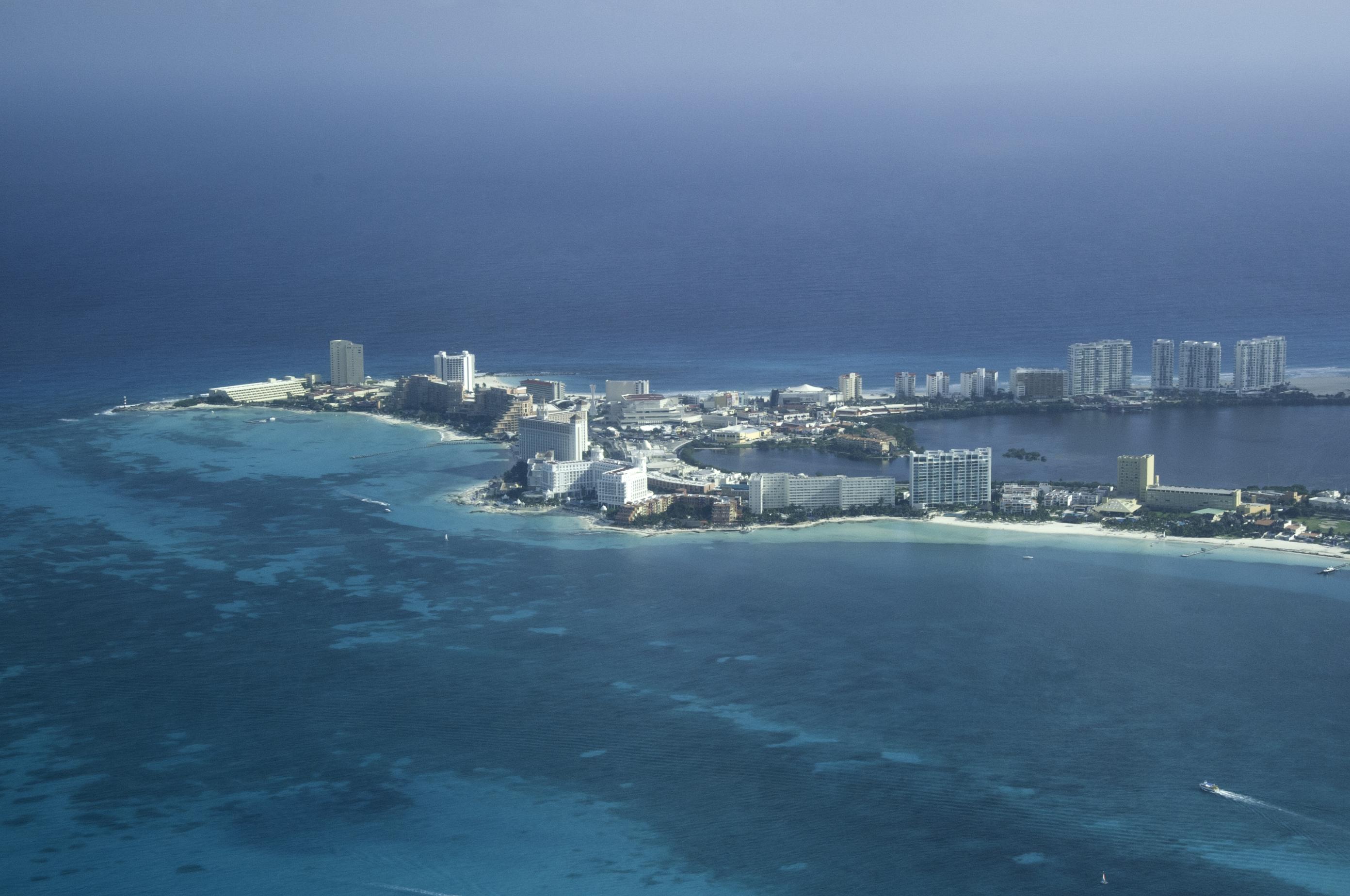Distance shot of Cancun shoreline.