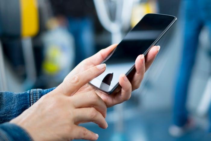 Women using a smartphone.