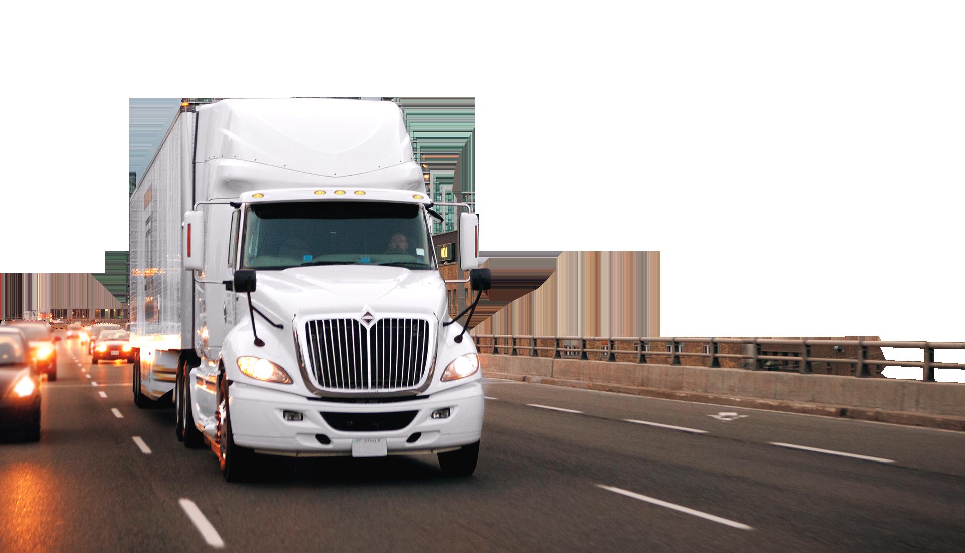 White semi truck on a road.