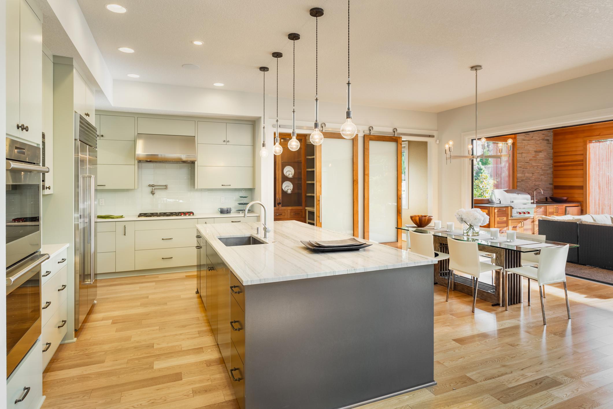 A newly designed kitchen layout.