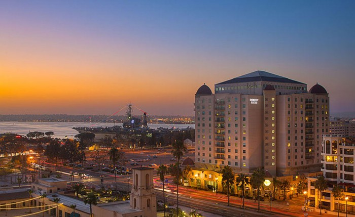 A view of Pebblebrook's Embassy Suites San Diego Bay Downtown Hotel.