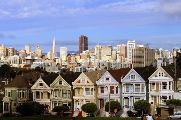Colorful San Francisco row houses.