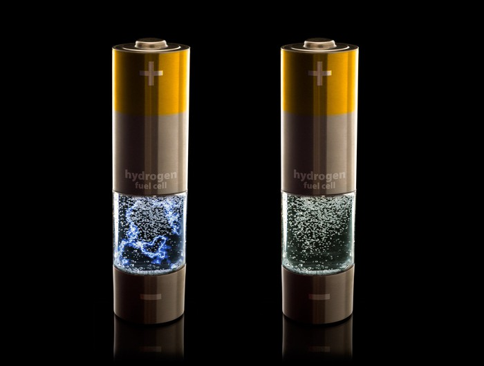 "Two household-looking batteries have ""hydrogen fuel cell"" written on them."
