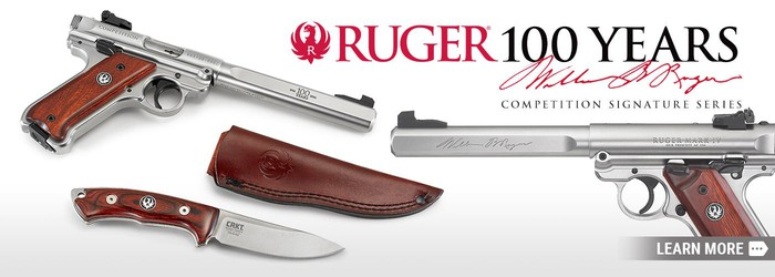 Two guns and a knife made by Ruger Firearms.