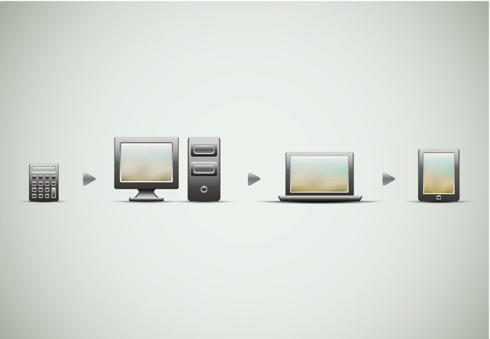 An image representing the evolution of computers, from calculators, to home computers, to laptops, and tablets.