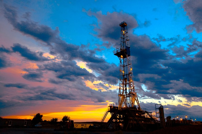 An onshore drilling rig.