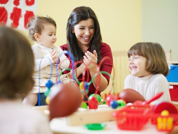 Children playing while at a daycare center.