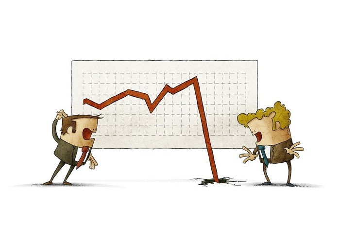 Cartoon of two men arguing in front of a falling line chart