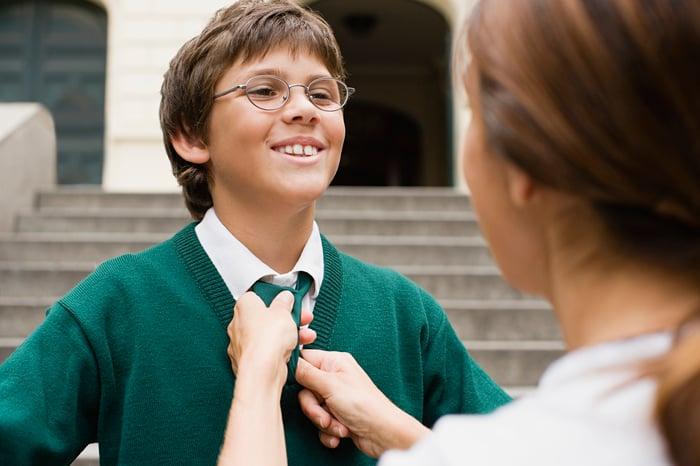 Mother adjusting her son's school uniform tie