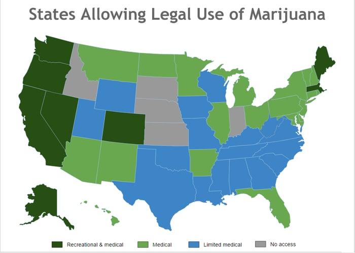 Map of states legalizing marijuana