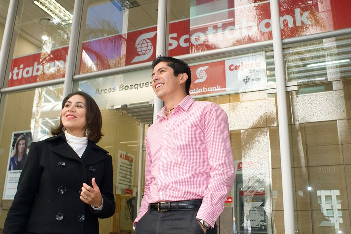 People outside a Scotiabank branch.